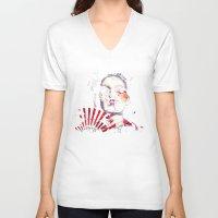 subaru V-neck T-shirts featuring Japanese Creepy Geisha by viva la revolucion