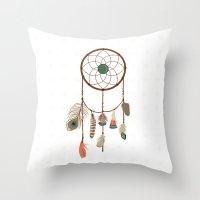 dream catcher Throw Pillows featuring Dream catcher by elyinspira