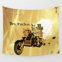 motorbike Wall Tapestries featuring Yes, I'm free by nicky2342