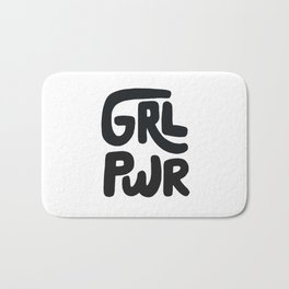 Grl Pwr black and white Bath Mat