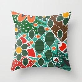 Floral botanic fusion Throw Pillow