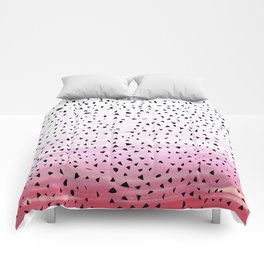 Artistic Abstract Triangles on Pink Watercolor Comforters