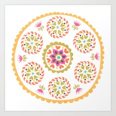 Suzani inspired floral 4 Art Print