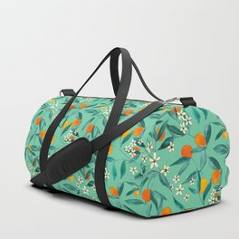 Orange Summer in Green Duffle Bag