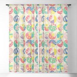 Abstract circle fun pattern Sheer Curtain