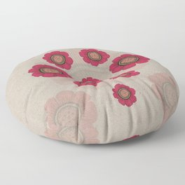 Pata Pattern with Red Flowers on Paper Floor Pillow