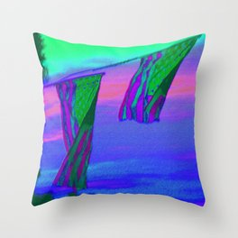 Sunset Flags on the 4th of July Throw Pillow