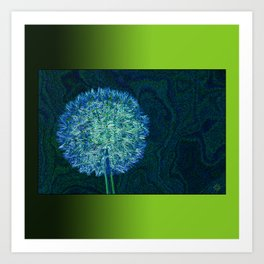 Dandelion ready to fly away - energy art Art Print