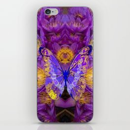 PURPLE WATER LILIES BUTTERFLY DESIGN iPhone Skin