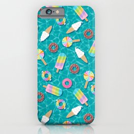 Sweet Treats Pool Floats Pattern – Turquoise iPhone Case