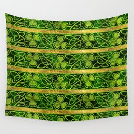 Irish Shamrock -Clover Gold and Green pattern Wall Tapestry