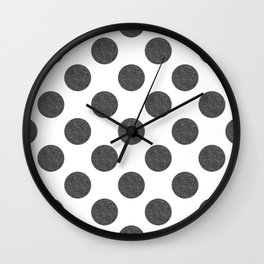 grey linen polka dots pattern Wall Clock