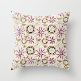Birds and Flowers Mosaic - Grey, Rust and Red Throw Pillow