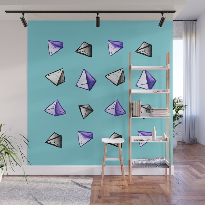 Blue Geometric Watercolor Pyramid Pattern Wall Mural