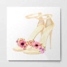 Floral high heels Metal Print