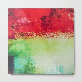 Modern Texture Red Abstract Metal Print
