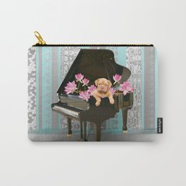 Piano with Bordeaux Bulldog and Lotos Flowers Carry-All Pouch