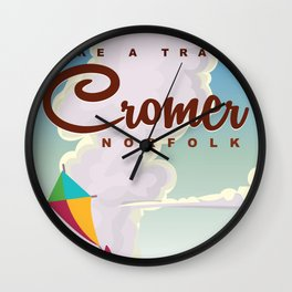 Cromer Vintage beach travel poster Wall Clock