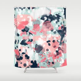 Isla - abstract painting navy mint coral trendy color palette summer bright decor Shower Curtain