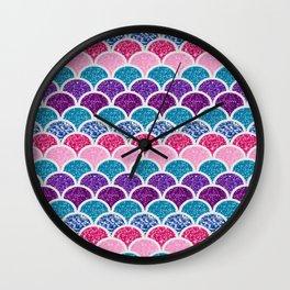 cute pink purple turquoise mermaid scales Wall Clock