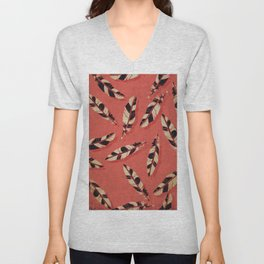Black and White Feather Pattern on Coral Unisex V-Neck