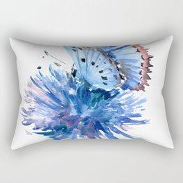 Blue Butterfly and Blue Flower Rectangular Pillow