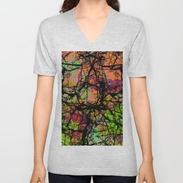 Cracks And Colour - Pastel orange, blue and green abstract with black marble effect Unisex V-Neck