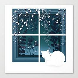 White Kitty Cat Window Watcher Canvas Print