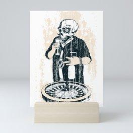 Gangster Skull Roulette Gambler Mini Art Print
