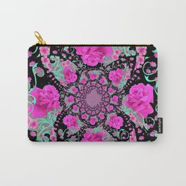 CERISE PINK ROSES & TURQUOISE RIBBONS ON BLACK Carry-All Pouch