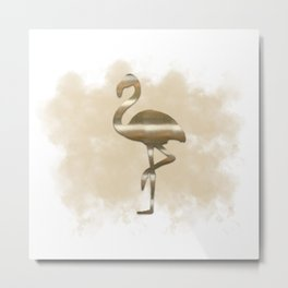 Gold Flamingo Cloud Metal Print