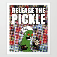 blackhawks Art Prints featuring Release the Pickle by Le Pac