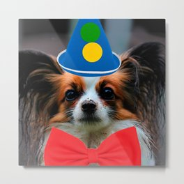 Papillon Puppy Dressed as a Clown Metal Print