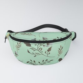 Mint Green and Bluebells and Bluebirds Floral Pattern Flowers in Blue and Bark Brown Fanny Pack