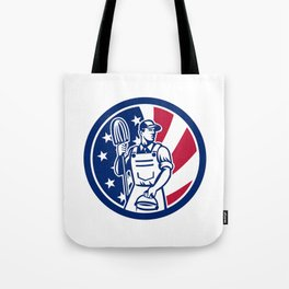 American Professional Cleaner USA Flag Icon Tote Bag