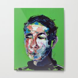 Green: the faces series Metal Print