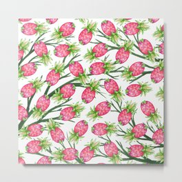 Summer tropical pink green watercolor pineapple floral Metal Print