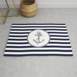 Anchor and Navy Blue Stripes Rug