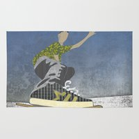 skateboard Area & Throw Rugs featuring Skateboard 13 by Aquamarine Studio