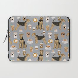 Airedale Terrier coffee pattern dog breed cute custom dog pattern gifts for dog lovers Laptop Sleeve