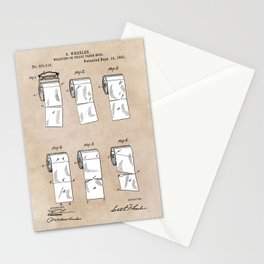 patent - Wheeler - Wrapping or Toilet paper roll - 1891 Stationery Cards