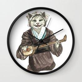 A Singing Cat Playing Samisen Wall Clock