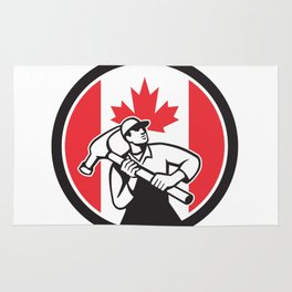 Canadian Handyman Canada Flag Icon Rug