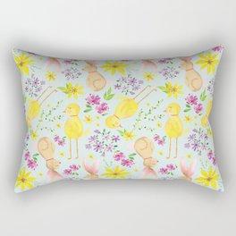 Cute Spring Bunny Pattern Rectangular Pillow