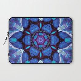 Digital Art Bue and Purple Kaleidoscope - Geometric Colorful Laptop Sleeve