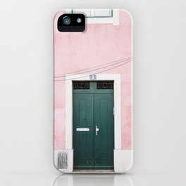 Green Door with Pink Wall in Alfama in Lisbon, Portugal | Travel Photography | iPhone Case