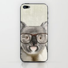 A baby koala with glasses on a rustic background iPhone & iPod Skin