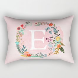 Flower Wreath with Personalized Monogram Initial Letter E on Pink Watercolor Paper Texture Artwork Rectangular Pillow
