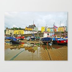 Tenby Harbour Reflection.Wales. Canvas Print