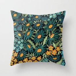 Watercolor . Chamomile field. 2 Throw Pillow